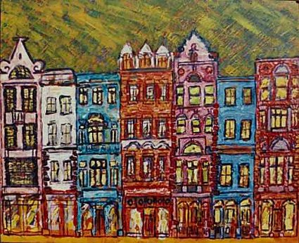 Painting of generic Dublin streetscape of 7 buildings each of 4 stories