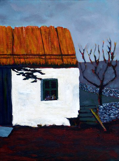Painting of a dilapidated thatched cottage in Donegal