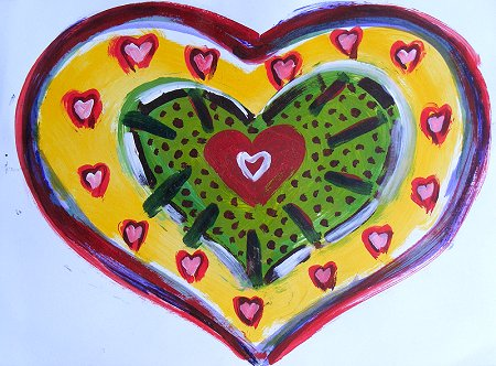 A painting of heart shaped stuff in red and green and yellow and black and white