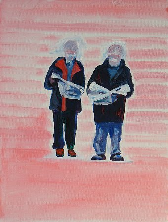 A painting of 2 men standing reading the papers