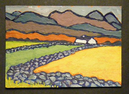A painting of Errigal in the distance in Donegal