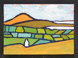 A very small painting of a bay, and a mountain