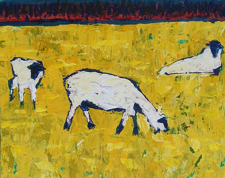 A painting of some sheep, white sheep