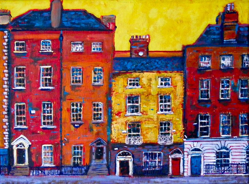A Painting Of Five Houses In Dublin