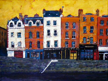 A painting of Dublin's Arran Quay, Liffey Steps