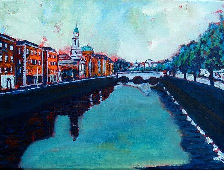 A painting of Dublin's Liffey and its Arran and Ushers Quays