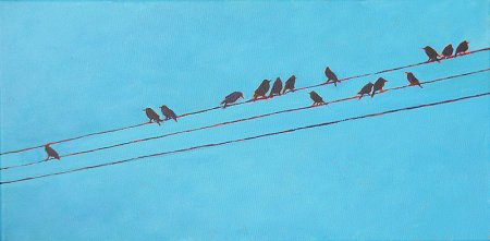 A wide painting of Birds on Wires