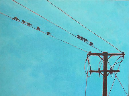A painting of Birds on Wires, and a pole!