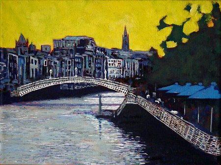 A painting of Dublin's River Liffey, Hapenny Bridge, and the Boardwalk by Bachelors Walk