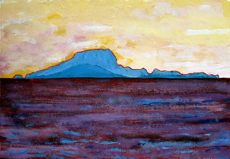 A painting of Clare Island from Clew Bay