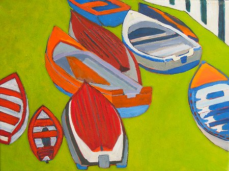 A painting of boats in Coliemore Harbour in Dalkey