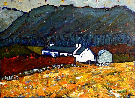 A painting of a cottage in Donegal