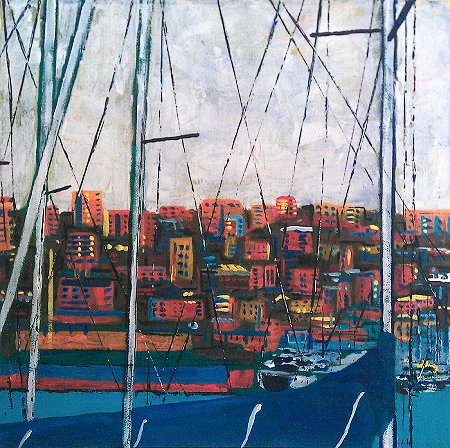 A painting of Genoa's port