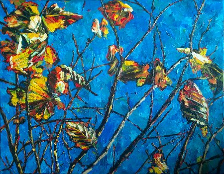 A painting of autumnal golden leaves