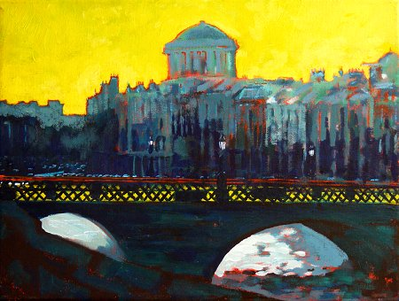 A painting of Grattan Bridge over the river Liffey with Ormond Quay upper and the dome of the Four Courts in the background