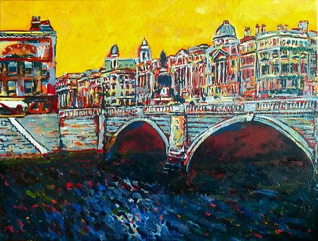 A painting of O'Connell Bridge and Street in Dublin