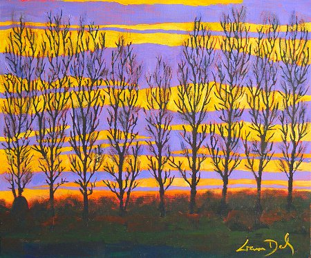 A painting of a sunset behind a row of poplar trees