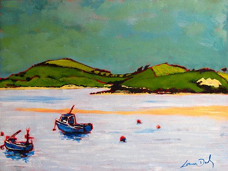 A painting of boats and Inchydoney Island done on location in Ring, County Cork