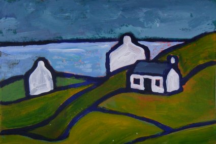 Mini landscape, 3 cottages, green fields