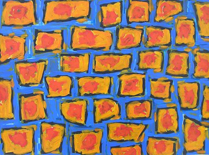 Orange Squares on Blue