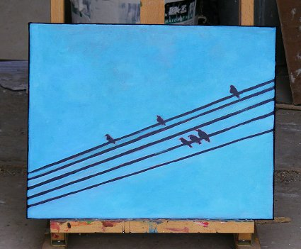 Painting of 6 birds on 5 wires