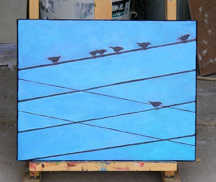 Painting of 7 birds and 6 wires