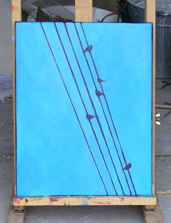 Painting of 5 birds and 5 wires
