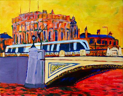 Painting of Heuston Station in Dublin, with Heuston Bridge and a Luas tram