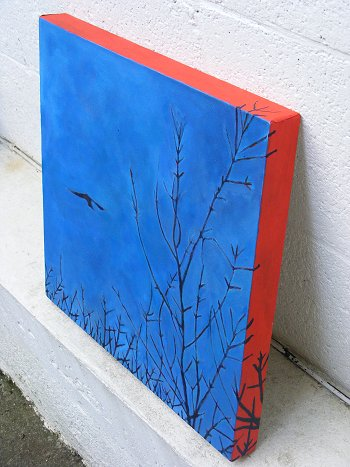 Side view of painting of a bird hovering