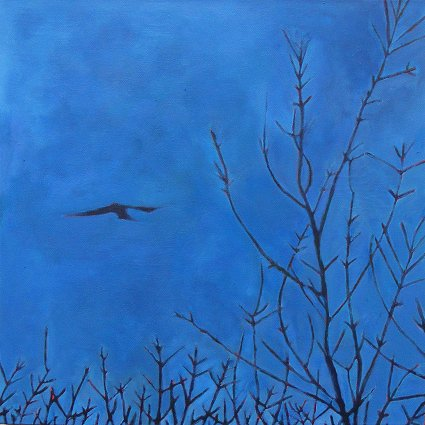 Painting of a bird hovering