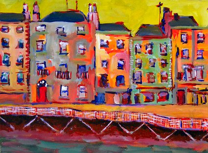 Painting of Ormond Quay in Dublin