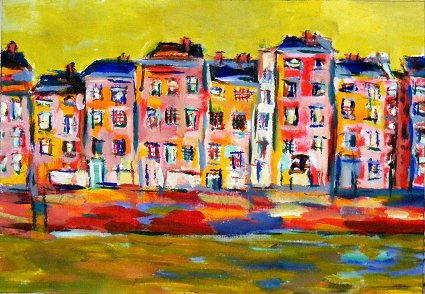 Painting of a quay on the banks of the Liffey in Dublin, Ireland