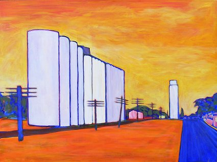 Painting of a grain elevator in American Midwest