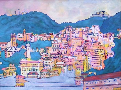 Painting of Genoa in Italy