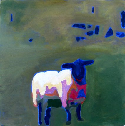Painting of a Sheep and a stone wall