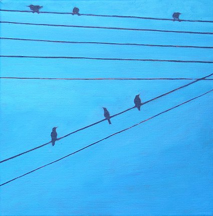 Painting of birds on wires, the 8th in the series