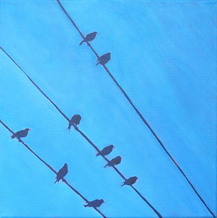 Painting of 9 birds on 3 wires, the 9th in the series