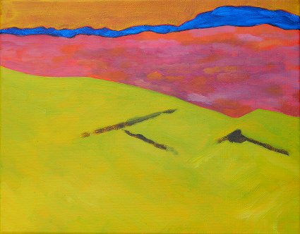 Painting of the fields and bogs by upper Derryreel and Muckish