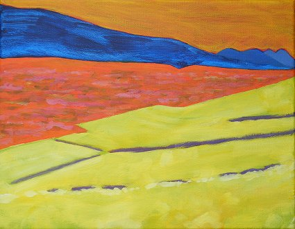 Painting of the fields and bogs by Muckish as you look to Errigal