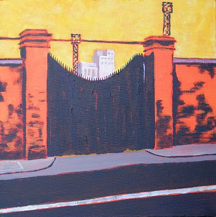 Painting of gate to Guinness brewery on Dublin's Victoria Quay