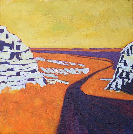 Painting of the middle of Kansas as seen looking down through a gap in rocky hills