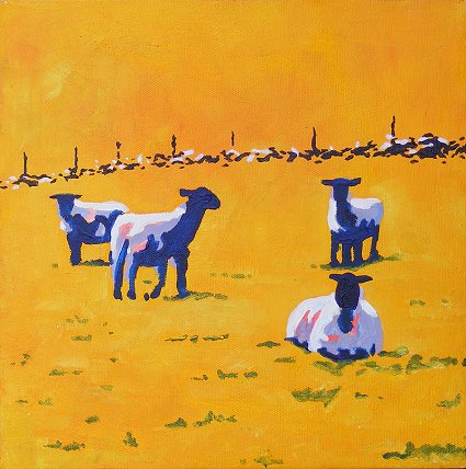Painting of 4 Sheep and a stone wall