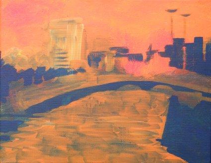 Liffey Bridges, Millenium, Ha'penny, and O'Connell, in Dublin, Ireland