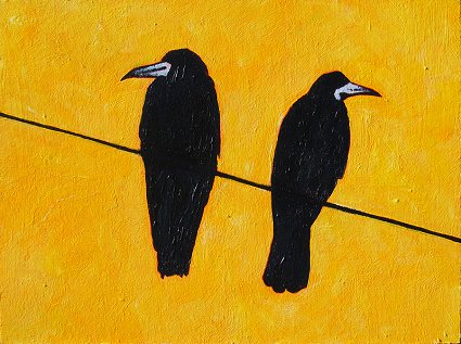 Painting of 2 rooks on a wire against a yellow sky