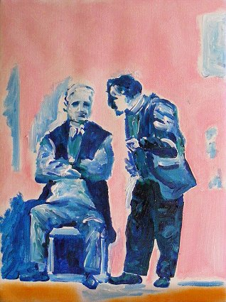 Painting 2 men in conversation