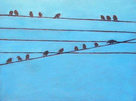 Painting of 17 birds on 5 wires