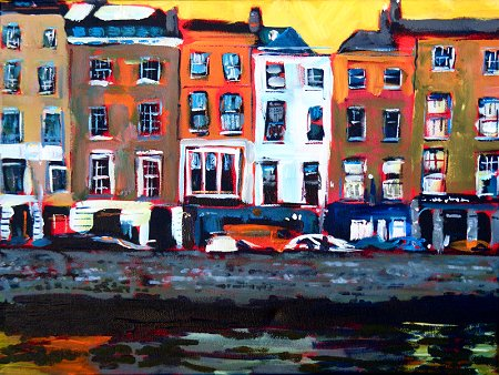 Painting of view across the river Liffey at Ormond Quay Upper in Dublin including Sin É
