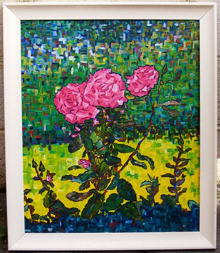 Painting of roses, pink ones, in a garden