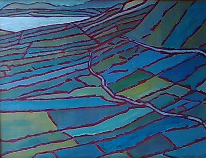 painting of Irish landscape of patchwork sloping fields
