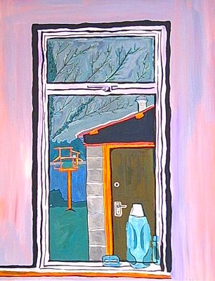 Window, Birdtable, a painting